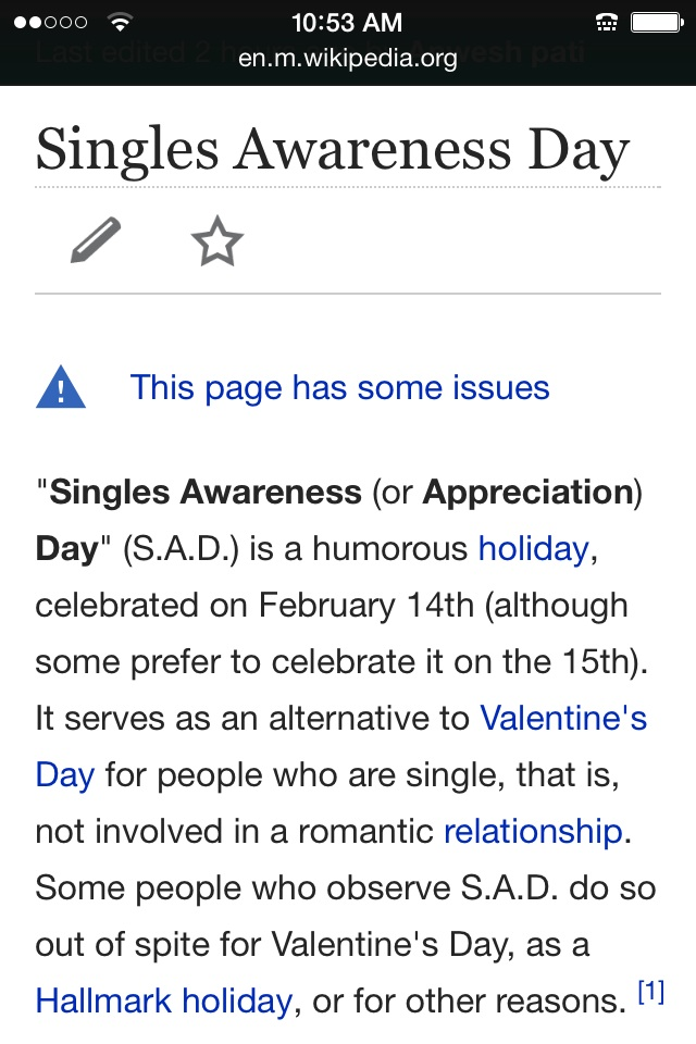 Ok today is S A D (single appreciation day) i think I